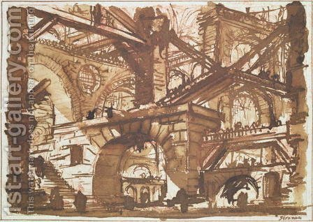 Drawing of an Imaginary Prison 2 by Giovanni Battista Piranesi - Reproduction Oil Painting