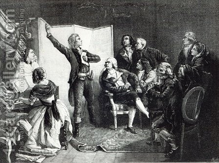 Rouget de LIsle, Composer of the Marseillaise, singing it for the first time to his friends, from Leisure Hour, 1888 by (after) Pils, Isidore - Reproduction Oil Painting
