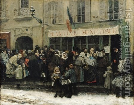 A Soup Kitchen during the Siege of Paris, after 1870 by Henri Pille - Reproduction Oil Painting