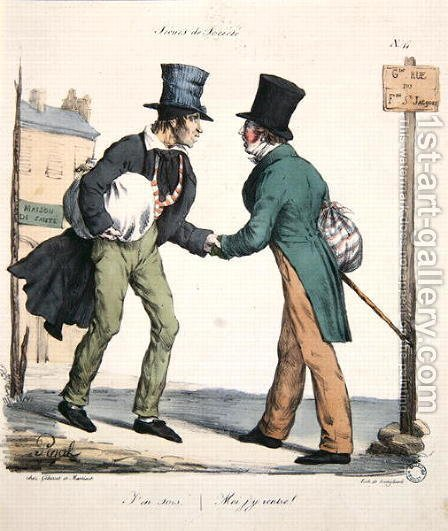 One man leaving and the other returning to hospital, caricature from the Moeurs Parisiennes series, engraved by Langlume, c.1825 by (after) Pigal, Edme Jean - Reproduction Oil Painting