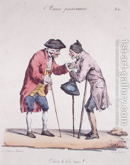 Those Were the Good Old Days, caricature from the Moeurs Parisiennes series, engraved by Langlume, c.1825 by (after) Pigal, Edme Jean - Reproduction Oil Painting