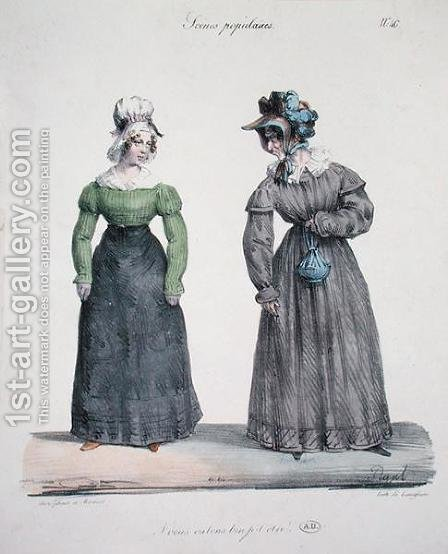 Caricature of a jealous mistress with her servant, plate number 40 from the Scenes Populaires series, engraved by Langlume, c.1820 by (after) Pigal, Edme Jean - Reproduction Oil Painting