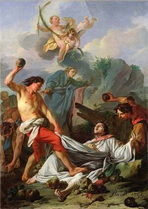 Reproduction oil paintings - Jean-Baptiste-Marie Pierre - Martyrdom of St. Stephen, 1745