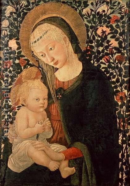 Madonna and Child seated, Child holding a Bird by (after) Pier Francesco Fiorentino - Reproduction Oil Painting