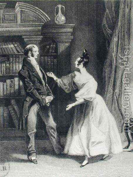 Huge version of She then told him what Mr Darcy had voluntarily done for Lydia. He heard her with astonishment, illustration from Pride and Prejudice by Jane Austen 1775-1817 engraved by William Greatbach b.1802 1833