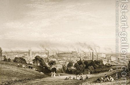 General View of Stockport, Lancashire showing cotton mills, published by J.C. Varrall fl.1815-27 1830s by (after) Pickering, George - Reproduction Oil Painting