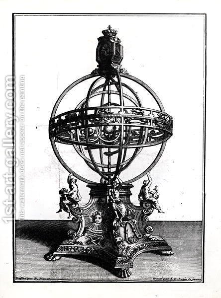 An Armillary Sphere of the Copernican System, engraved by Gerard Jean Baptiste Scotin 1671-1716 by (after) Picart, Bernard - Reproduction Oil Painting