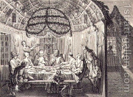 Jewish Meal During the Feast of the Tabernacles, illustration from Religious Ceremonies and Customs, 1724 by (after) Picart, Bernard - Reproduction Oil Painting