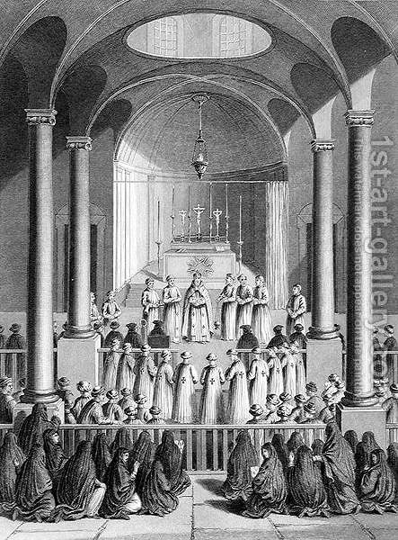 Worship according to the Armenian Church, engraved by T. Brown, from World Religion, published by A. Fullarton and Co. by (after) Picart - Reproduction Oil Painting