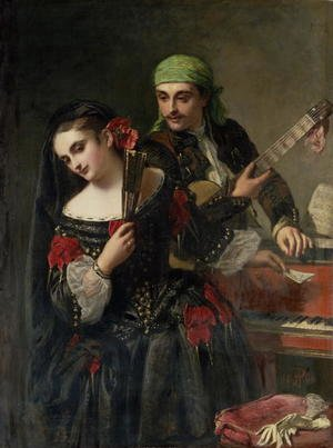 Famous paintings of Fans: A Music Lesson, Seville