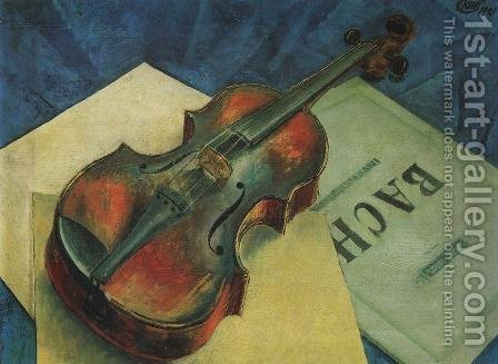 Still Life with a Violin, 1921 by Kuzma Sergeevich Petrov-Vodkin - Reproduction Oil Painting