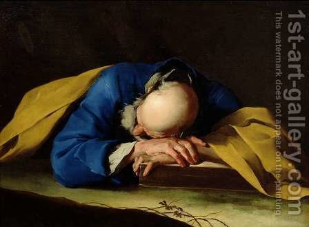 St. Peter or St. Jerome Sleeping, c.1735-39 by Giuseppe Antonio Petrini - Reproduction Oil Painting