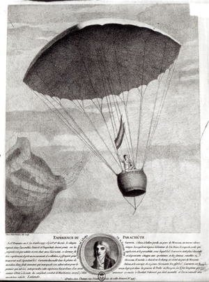 The First Parachute Descent by Andre Jacques Garnerin 1770-1823 over Parc Monceau, 22nd October 1797