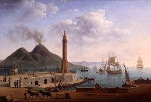 Famous paintings of Volcanoes: View of Vesuvius from the Harbour of Naples, 1791