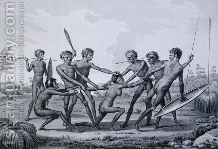 Port Jackson, New Holland Aboriginal Pre-Marriage Ceremony, from Voyage Autour du Monde sur les Corvettes de LUranie 1817-20 engraved by Lerouge and Forget, published 1825 by (after) Petit, N. - Reproduction Oil Painting