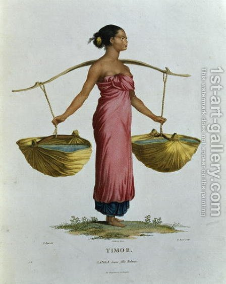 T.1552 Canda, a Young Malaysian Girl from Timor, plate 26 from Voyage of Discovery to Australian Lands, engraved by B. Roger, pub. 1807 by (after) Petit, N. - Reproduction Oil Painting
