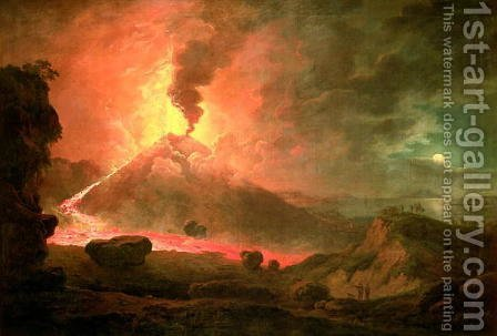 The Eruption of Vesuvius by Abraham Pether - Reproduction Oil Painting