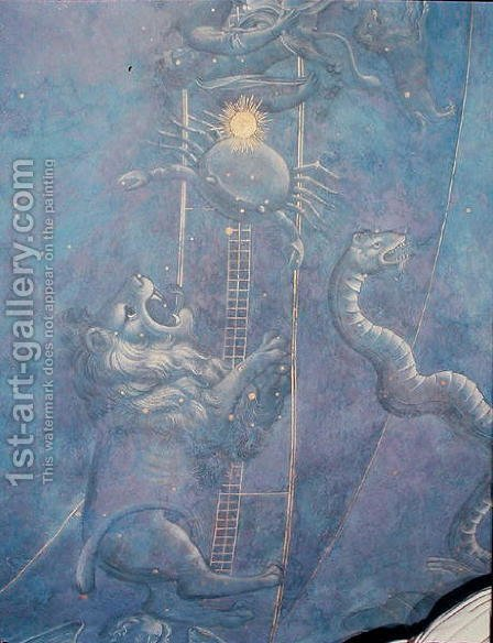 The Path of the Sun through the stars on the night of the 4th July 1442, detail of Leo, Cancer and the Hydra, from the soffit above the altar, c.1430 by Giuliano dArrighi Pesello - Reproduction Oil Painting