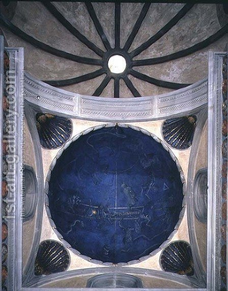 The Path of the Sun through the stars on the night of the 4th July 1442, from the soffit above the altar, c.1430 by Giuliano dArrighi Pesello - Reproduction Oil Painting