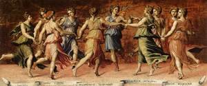 Renaissance - High painting reproductions: Dance of Apollo with the Nine Muses