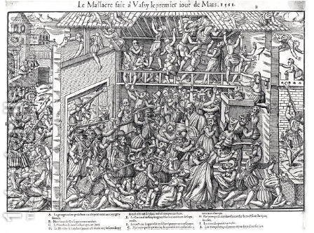 The Massacre of the Protestant Population by the Troops of the Duc de Guise at Wassy-sur-Blaise, 1st March 1562, engraved by Jacques Tortorel 1568-92 by (after) Perrissin, Jean Jacques - Reproduction Oil Painting