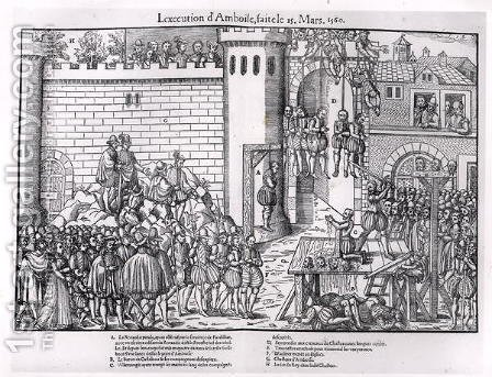 The Massacre of Amboise, engraved by Jacques Tortorel fl.1568-92 1560 by (after) Perrissin, Jean Jacques - Reproduction Oil Painting