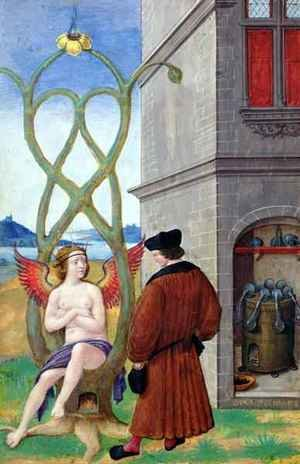Mannerism painting reproductions: Dialogue between the Alchemist and Nature, 1516