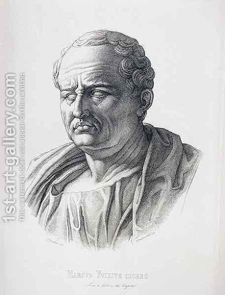 Portrait of Marcus Tullius Cicero 106-43 BC engraved by B.Bartoccini, 1849 by (after) Perkins, C.C - Reproduction Oil Painting
