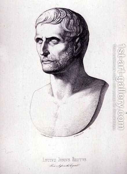 Portrait of Lucius Junius Brutus, engraved by B.Barloccini, 1849 by (after) Perkins, C.C - Reproduction Oil Painting