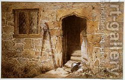 After the battle - a helmet before a stone gothic doorway, 1855 by Aaron Edwin Penley - Reproduction Oil Painting