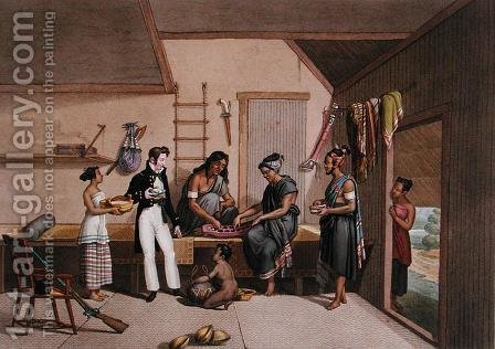 Interior of a House in Coupang, Timor, from Voyage Autour du Monde sur les Corvettes de LUranie 1817-20, engraved by Lerouge and Forget, published 1825 by (after) Pellion, Alphonse - Reproduction Oil Painting