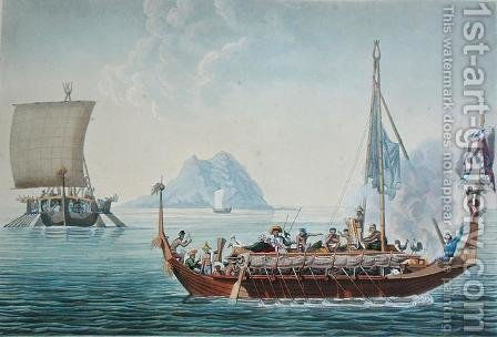 View of the Corocores of the Island of Guebe, from the Island of Pisang, from Voyage Autour du Monde sur les Corvettes de LUranie 1817-20 engraved by Coutant, published 1825 by (after) Pellion, Alphonse - Reproduction Oil Painting