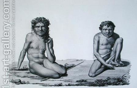 Port Jackson, New Holland Aborigines from the Blue Mountains, from Voyage Autour du Monde sur les Corvettes de LUranie engraved by Forget, published 1825 by (after) Pellion, Alphonse - Reproduction Oil Painting