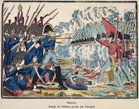 The Battle of Waterloo, 1815 engraved by Francois Georgin 1801-63 from Edition de la Revue Lorraine Illustree, pub. 1912 by (after) Pellerin, Jean-Charles - Reproduction Oil Painting