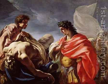 Achilles Contemplating the Body of Patroclus by Giovanni Antonio Pellegrini - Reproduction Oil Painting