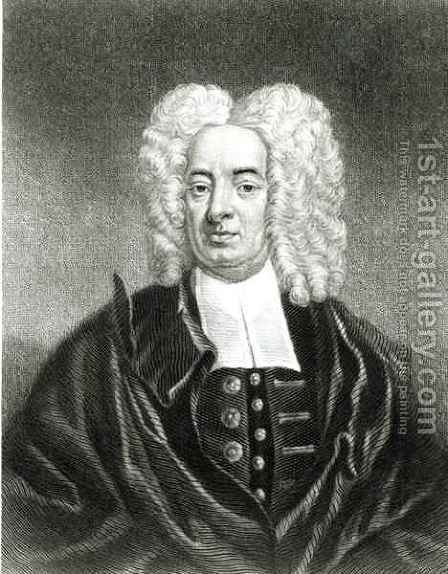 Cotton Mather 1663-1728 engraved by Charles Edward Wagstaff b.1808 and J. Andrews by (after) Pelham, Peter - Reproduction Oil Painting