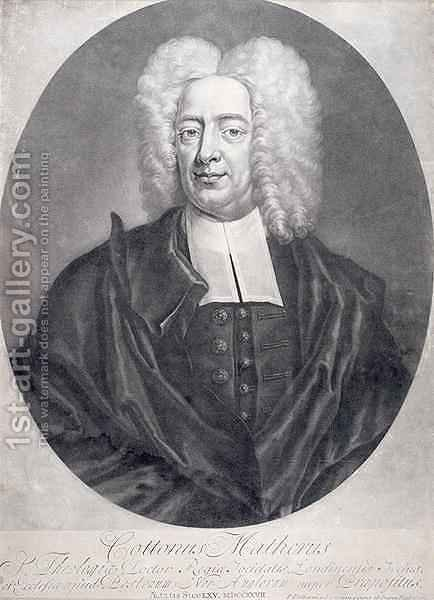 Cotton Mather 1663-1728 by (after) Pelham, Peter - Reproduction Oil Painting