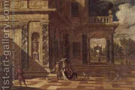 Architectural capricci with elegant figures by Jacob Balthasar Peeters - Reproduction Oil Painting