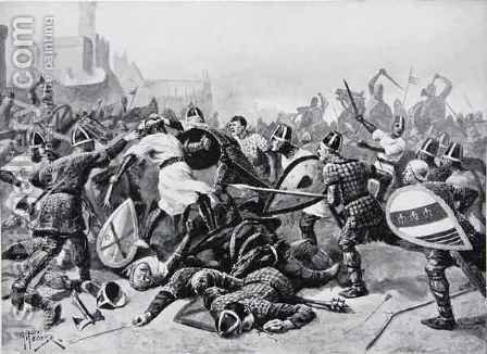 Stephen taken prisoner at the Battle of Lincoln, 1141, illustration from The History of the Nation by Alfred Pearse - Reproduction Oil Painting