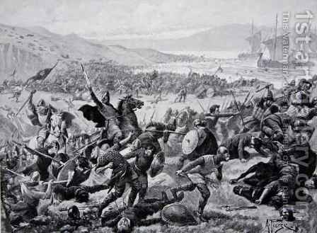 The great battle of Brunanburgh, 937, illustration from the book The History of the Nation by Alfred Pearse - Reproduction Oil Painting