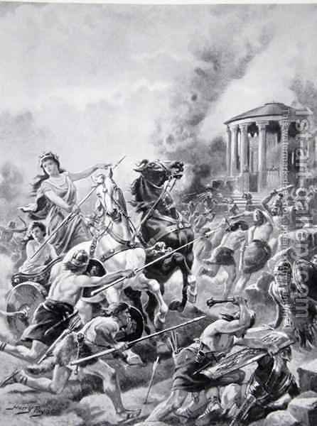 Boadiceas attack upon Camulodunum, 60AD, illustration from The History of the Nation by Henry A. (Harry) Payne - Reproduction Oil Painting