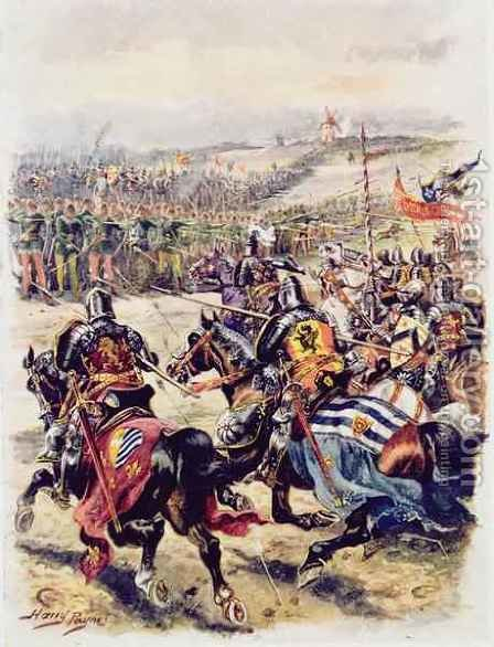 Charge of the French Cavalry, illustration for Glorious Battles of English History by Major C.H. Wylly, 1920s by Henry A. (Harry) Payne - Reproduction Oil Painting