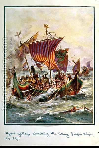 Alfreds galleys attacking the Viking Dragon ships, 897 AD, illustration from Hutchisons Story of the British Nation, c.1920 by Henry A. (Harry) Payne - Reproduction Oil Painting