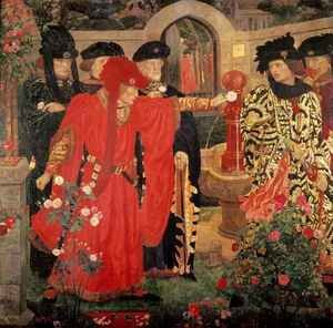 Famous paintings of Fountains: Choosing the Red and White Roses in the Temple Garden, 1910