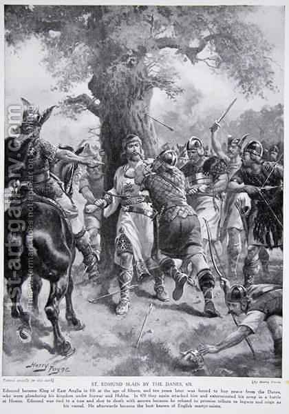 St. Edmund Slain by the Danes, 870 AD, illustration from Hutchinsons Story of the British Nation, c.1920 by Henry A. (Harry) Payne - Reproduction Oil Painting
