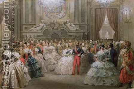 Queen Victoria 1819-1901 and Prince Albert 1819-61 at a gala dinner given by Napoleon III and Eugenie, 1853 by Hippolyte Louis Pauquet - Reproduction Oil Painting