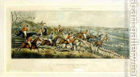 A Struggle for a Start, The Leicestershires, engraved by Henry Alken 1785-1851 1825 by (after) Paul, John Dean - Reproduction Oil Painting