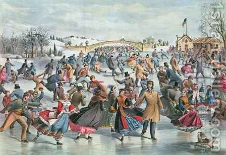 Charles Parsons: Winter on the Skating Pond in Central Park, 1862 - reproduction oil painting