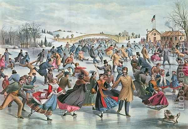 Huge version of Winter on the Skating Pond in Central Park, 1862