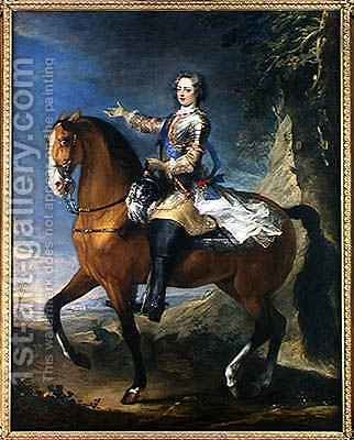 Equestrian Portrait of Louis XV 1710-74 at the age of thirteen, 1723 by J. B. Van Loo and C. Parrocel - Reproduction Oil Painting